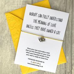 Pet Loss Card, Cat Loss Keepsake, Cat Memorial Gift, Pet Sympathy Bracelet, L Cat Memorial, Memorial Gifts, Sympathy Gifts, Sympathy Cards, Owning A Cat, Meaning Of Love, Make A Wish, How To Make, Wish Bracelets