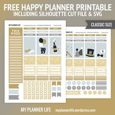Free Printable New Year Planner Stickers {including Silhouette Cut Files & SVG} from My Planner Life 2015 Planner, Goals Planner, Free Planner, Blog Planner, Happy Planner, Year Planner, Planner Ideas, Passion Planner, Printable Planner Stickers