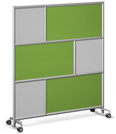"""Urban Wall Room Divider Wall - 4 Wheel - 73""""x78"""" - Gaia green fabric and Perforated Steel"""