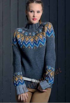 Le pull femme pattern by Phildar Design Team Fair Isle Knitting Patterns, Knitting Designs, Knitting Stitches, Knit Patterns, Hand Knitting, Tejido Fair Isle, Nordic Sweater, Icelandic Sweaters, Crochet Wool