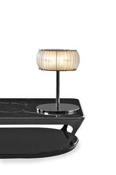 """""""Only great minds can afford a simple style"""" - STENDHAL - (""""Pierre"""" Coffee Table and """"Janus"""" Table Light from Fendi Casa) Dj Lighting, Custom Lighting, Lighting Design, Cafe Furniture, Luxury Furniture, Side Table Lamps, Tables, Curved Glass, Lamp Design"""