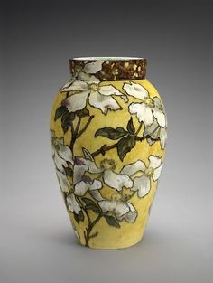 The beautiful floral decoration on this 19th-century vase was painted in thin, rich colors before being coated with a clear glaze. The result is as luminou...