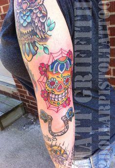Tattoos By Matt Griffith @2 Dollar Pistol Tattoo Shop    #skull #tattoo #matt griffith #2dollarpistol #tattoo shop #owl #Custom Tattoos #painting