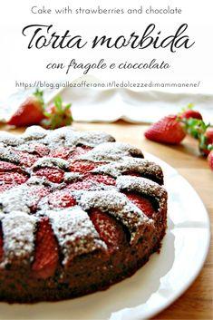 TORTA MORBIDA CON FRAGOLE E CIOCCOLATO - CAKE WITH STRAWBERRIES AND CHOCOLATE #torta #cake #pastry #tarte #fragole #strawberries #cioccolato #cioccolatoFondente #chocolate #ricetta #recipe #bimby #thermomix #cucinaItaliana #food #dolce Strawberry Shortcake Cheesecake, Strawberry Desserts, Torte Cake, Beautiful Desserts, Fabulous Foods, Chocolate Desserts, Sweet Recipes, Bakery, Food And Drink