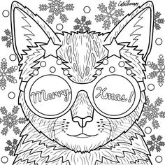 Cat #Xmas #Eyewear to color with Color Therapy: http://www.apple.co/1Mgt7E5 #colortherapy #coloringforadults