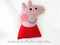 Peppa Pig plush toy by TheCraftyButtonUK on Etsy,
