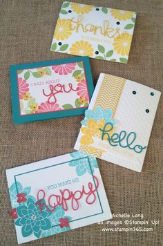 set of greeting cards from Stampin' 365 ... die cut word forms half of mixed media sentiment and the main focal image ... summery colors ... flowers .... Stampin' Up!