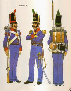 Spanish;Infantry as per December 1811 regulation.L to R Grenadier Line Regt, Officer Cazadores Line Regt & Cazador of Light Infantry Regt.