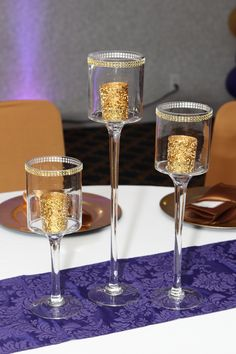 Ken's 40th Birthday Party Gold 3 Tier Candle Center Piece - Purple and Gold https://www.willuparty.com