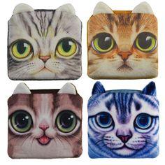 2016 Hot Sale Square Coin Purses Cute Cat Face Zipper Money Bag Children Plush Gift Women Coin Wallets
