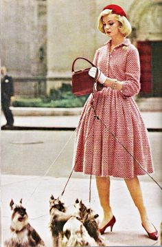 Schnauzer sweetness and a stylish daywear look from 1959. #vintage #1950s #fashion