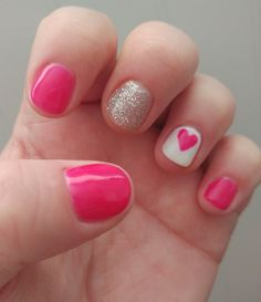 Wanted a fun Valentine's nail. Got to love pink, glitter and hearts! #nailart #shellac #pink #valentines #hearts #glitter #nails