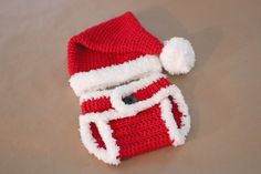 Crochet Santa Hat and Diaper Cover - Tutorial (links in the page)