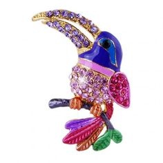 Beautiful crystal colorful bird  Brooch pins gold plated animal Brooches for wedding women decoration  jewelry