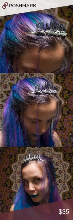 Wirewrapped Dark Grey Titanium Quartz Fairy Crown Handmade by me  9 high quality gorgeous dark grey titanium Quartz crystals with splashes of muted rainbow throughout Wirewrapped on a silver headband with silver wire.  Made to be as sturdy as can be, this tiara crown is perfect for festivals, Halloween costumes, game of thrones cosplay and everyday if you wanna add some Crystal magic to your style ✨not FP just tagged for the viewing pleasure of those with similar taste ✨ Free People…