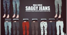 Child male saggy jeans recolors at onyx sims via sims 4 updates check more at http Sims 3, Sims 4 Cas, Sims 4 Male Clothes, Sims 4 Cc Kids Clothing, Male Clothing, Kids Clothes Boys, Maxis, Vetements Clothing, Sims 4 Children