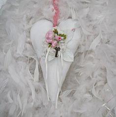 White Vintage Linen Valentine Heart with by CottonRidgeEmporium, $18.00