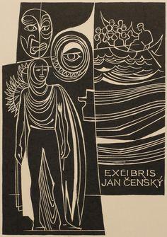 ex libris by Dusan Janousek for Jan Censky (1987)