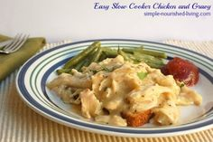 Easy slow cooker chicken and gravy, a deliciously satisfying meal the family will love with just 228 calories and *6 Weight Watchers PointsPlus