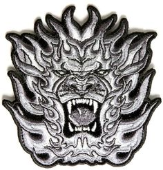 """Embroidered Iron On Patch - Tribal Lion 4"""" x 4"""" Biker Patch Ivamis Trading,http://www.amazon.com/dp/B00957CUFM/ref=cm_sw_r_pi_dp_xX1stb1GHX234MR9"""