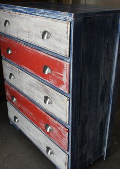 Red White Blue Weathered Patriotic Dresser