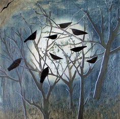 A fine art greeting card by painter Hannah Hann, blank inside for your own message. Cool Paintings, Original Paintings, Crows Ravens, Man And Dog, Moon Art, Pet Birds, Birds 2, Art Techniques, Painting & Drawing