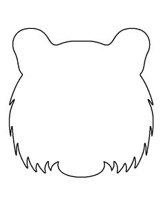 Tiger head pattern. Use the printable outline for crafts, creating stencils, scrapbooking, and more. Free PDF template to download and print at http://patternuniverse.com/download/tiger-head-pattern/