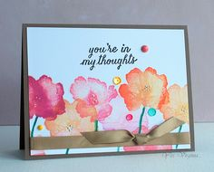 by Virginia Lu Card Making Inspiration, Making Ideas, Watercolor Cards, Watercolor Flowers, Watercolour, Hero Arts Cards, Cardmaking And Papercraft, Card Making Techniques, Sympathy Cards