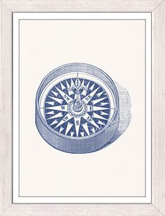Nautical print poster - Compass no2 in blue - sea life tools print- Vintage illustration sea life