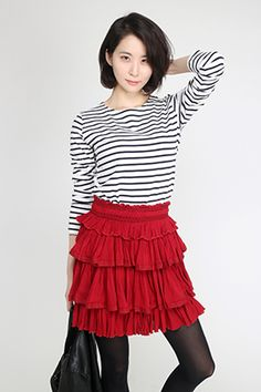 Poetic by Regina; Red Layered Skirt
