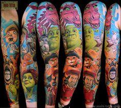 Shrek sleeve tattoo