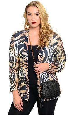 0b4fcd222db Plus Size Tiger Print Cardigan - Available now! Fashion Sale