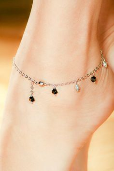 This is a beautifully feminine ankle bracelet adorned with onyx and silver beads… - Silver Jewelry Beaded Anklets, Beaded Jewelry, Silver Jewelry, Jewellery, Silver Ring, Silver Earrings, Ankle Jewelry, Ankle Bracelets, Anklet Designs