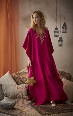 Get inspired and discover The Exclusive Caftan Collection trunkshow! Shop the latest The Exclusive Caftan Collection collection at Moda Operandi. Arab Fashion, Fashion Mode, Modest Fashion, Kaftan Style, Caftan Dress, Kaftan Designs, Mode Abaya, Moroccan Dress, Dress Plus Size