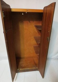 Antique Art Deco Flaming Walnut 2 Door Gentlemenu0027s Wardrobe Armoire  Interior Shelves Pullout Bar With Skeleton Key