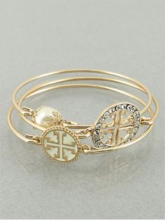 Set of 3 White and Goldtone Cross Bangle by JewelJunkieShop