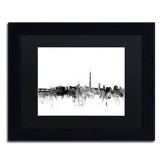 Michael Tompsett 'Washington DC Skyline B&w' Matted Framed Art