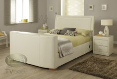 Vega TV Bed - Ivory Leather - 5ft King + FREE Delivery & Installation Tv Beds, Beds For Sale, Beds Online, King Size, Free Delivery, Mattress, Master Bedroom, Ottoman, Ivory