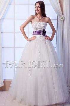 Wedding Dress Strapless Crystals Belt Sequins Lace Tulle Ball-Gown Elegant Modern Glamorous Lace-up Sleeveless Floor-length Ivory Basque price USD $289 - PARISISI ONLINE DISCOUNT SHOP