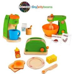 Amazon.com: Hape Pop-Up Toaster, Coffee Maker & Mighty Mixer Set by Seller Tiny Jelly Beans, LLC: Toys & Games