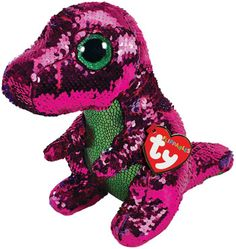 Stompy Pink Dino Flippable Medium is part of the Flippable Beanie Boos collection from Ty. Flippables are plush animals covered with sequins and when you pet the sequins, they turn over to reveal a different colour. Ty Beanie Boos, Beanie Babies, Ty Animals, Ty Stuffed Animals, Plush Animals, Dinosaur Stuffed Animal, Dinosaur Party Supplies, Kids Party Supplies, Paw Patrol