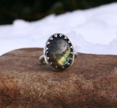 Labradorite Oxidized Sterling Silver Large Stone by MissieRabdau, $90.00