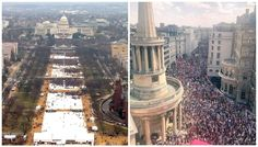 Trump's US Presidential Inauguration 01-20-17 (left) and Trump's UK Visit Protest 07-13-18 (right). Thank you for coming out in full force London! #Resist