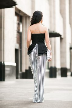 Heights :: Striped pants & Textured corset :: Outfit :: Top :: Finders Keepers (current season here) Bottom :: ASOS Bag :: Proenza Schouler Shoes :: YSL Accessories :: Celine bracelet, Deborah Lippmann 'It's raining men' polish Published: May 25, 2015