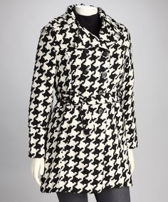 Take a look at this Black & White Houndstooth Plus-Size Coat by Shine Apparel on #zulily today!