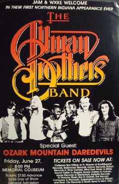 Original concert poster for The Allman Brothers in Fort Wayne, Indiana in 1980. 12.25 x 19 inches on card stock. Corner bends.