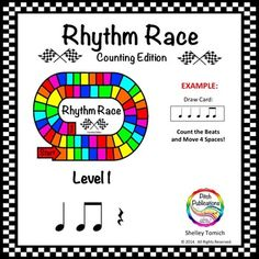 This is a super fun (yet truly educational!) game where students race to the finish line by counting the number of beats on a card! Use in your daily lessons, as part of center activities, or as a great sub plan!This is Level 1: Quarter Note, Quarter Rest, and Beamed Eighth Notes. #elmused #music education #orff #centers