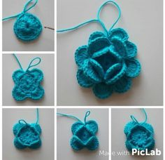 Beau Crochet, Crochet Cord, Crochet Lace Edging, Crochet Leaves, Granny Square Crochet Pattern, Irish Crochet, Crochet Stitches, Crochet Flower Tutorial, Crochet Flower Patterns