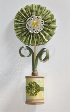 Lucky Wish Paper Rosette - You'll love making this paper flower craft for St. Patrick's Day!