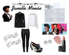 Janelle Monáe by sophialopez-1 on Polyvore featuring polyvore fashion style Orla Kiely STELLA McCARTNEY ONLY Poetic Licence White House Black Market NARS Cosmetics Lipstick Queen Music Notes clothing